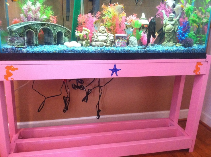 Hand painted fish tank stand pretty in pink for Aquarium decoration paint
