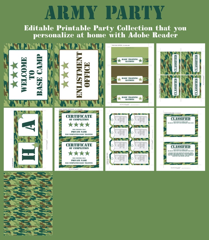 army party invitations  u0026 decorations - camo