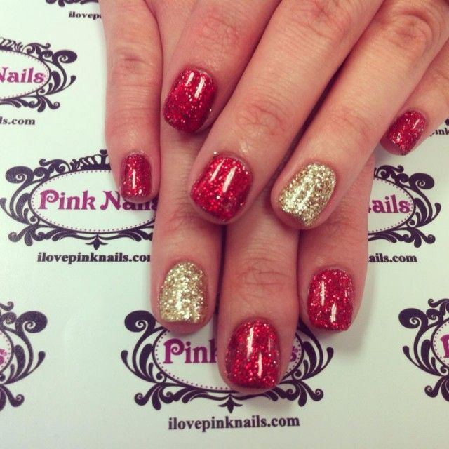 Red and Gold Rock Star Nails
