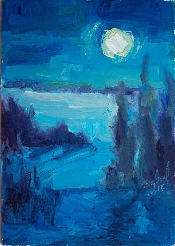 An imagery image based on the scenes that surround my home here in Zimmerman, Minnesota, USA. Minnesota is located in the north central part of the United States. The Summers are Hot and the winters are cold and look like this painting.    Oil Painting Moon Lit landscape  Deep Blue Night Sky  White Moon.  by starryniteart, $65.00