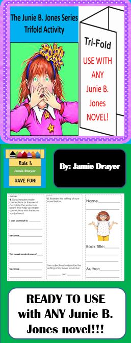 This resource engages students in a reading activity and can be used as a whole group, small group, or even literacy center activity. For early finishers, assign a book in the series and you've created an authentic and challenging reading enrichment assignment. Best part is...you can use with ANY of the Junie B. Jones novels!!! Content of this resource includes: Retelling, character traits, writing in complete sentences, synonyms/antonyms, making connections, setting, and adjectives.