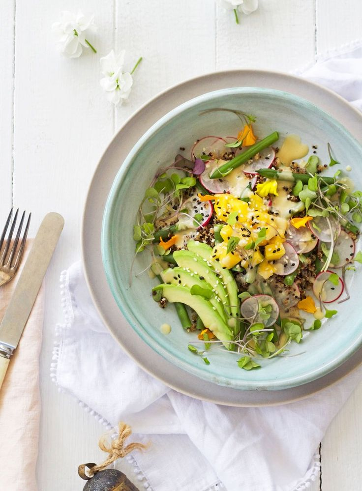 Ancient Grain, Mango, Avocado and Green Bean Salad with Ginger and Miso Dressing