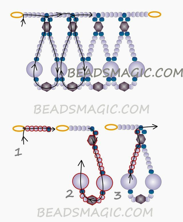 Free pattern for beaded necklace Madlen U need: seed beads 11/0 bicones 4 or 6 mm pearls 6 or 8 mm