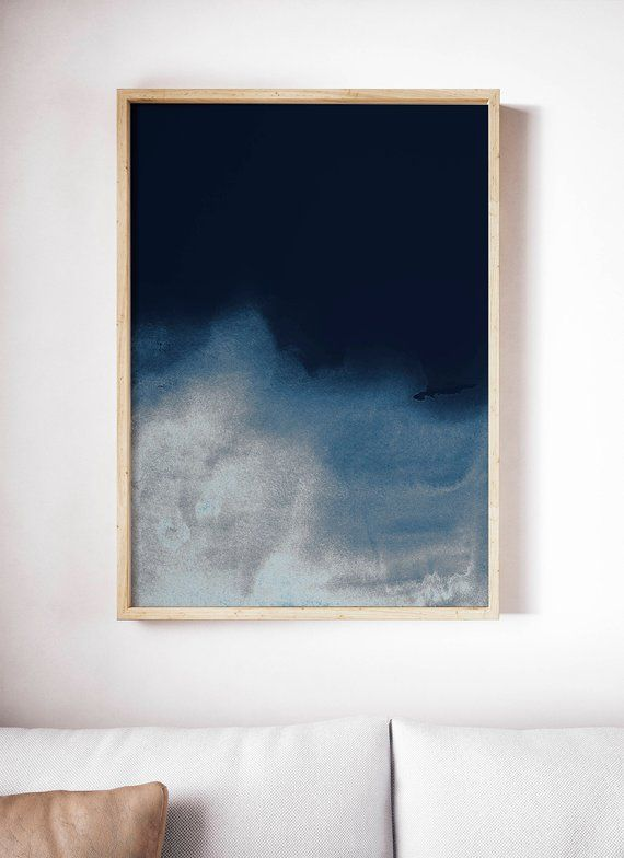 Dark Blue Wave Print Navy Print Navy Blue Art Abstract Blue Painting Abstract Navy Wall Art Blue Abstract Painting Blue Wall Art Abstract Canvas Painting