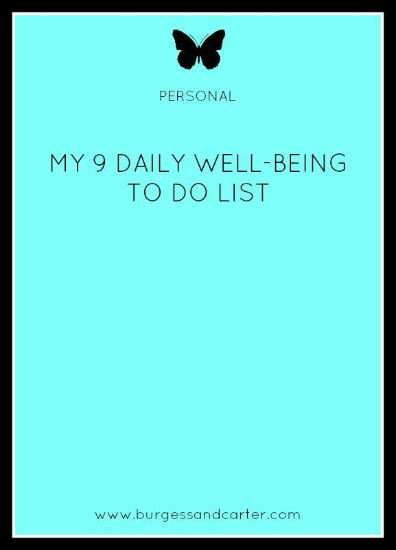 Daily well-being to do list