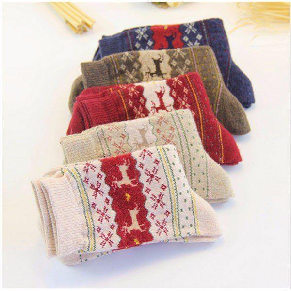 Женщины утолщенные шерстяные носки оленей шаблонов рождественские чулки - Banggood Мобильная версия