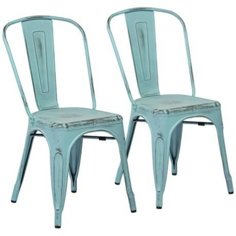 Bristow Set Of 2 Antique Sky Blue Metal Dining Chairs Farmhouse