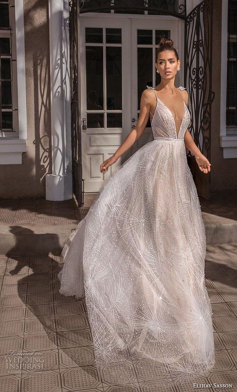 elihav+sasson+2019+bridal+sleeveless+spaghetti+strap+deep+v+neck+full+embellishm…