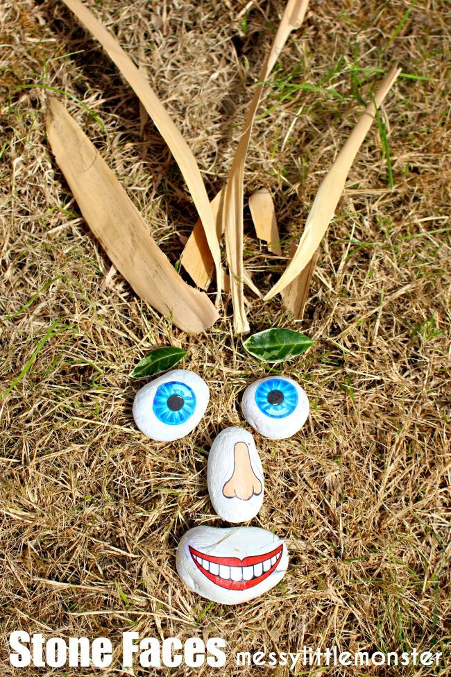 Outdoor nature funny stone faces craft