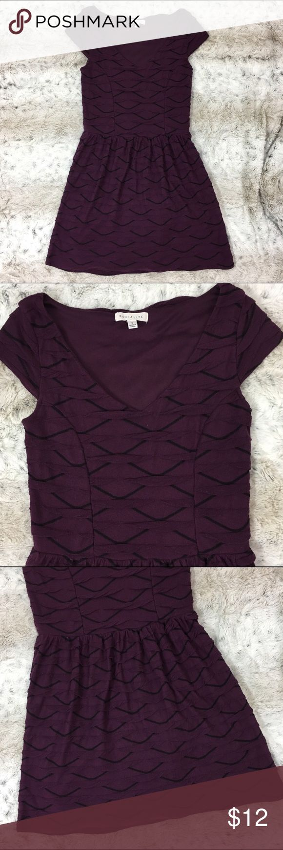 Socialite purple tea dress short sleeve mini Textured print dress in purple and black. Defined waist, flowy skirt with lining. Great condition. Socialite Dresses Mini