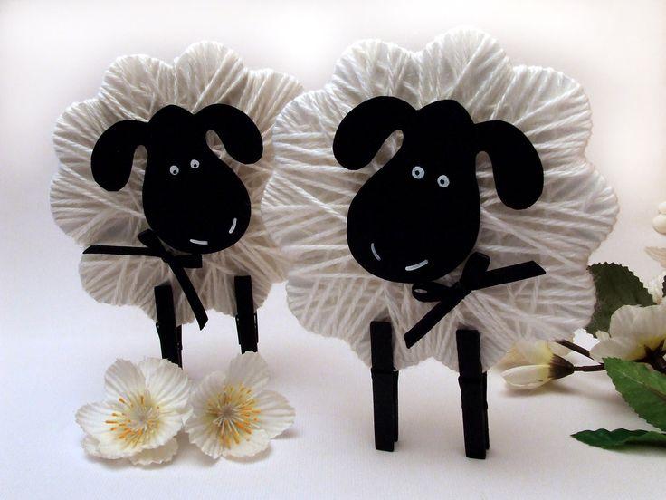 Húsvéti bárány fonalból és csipeszből