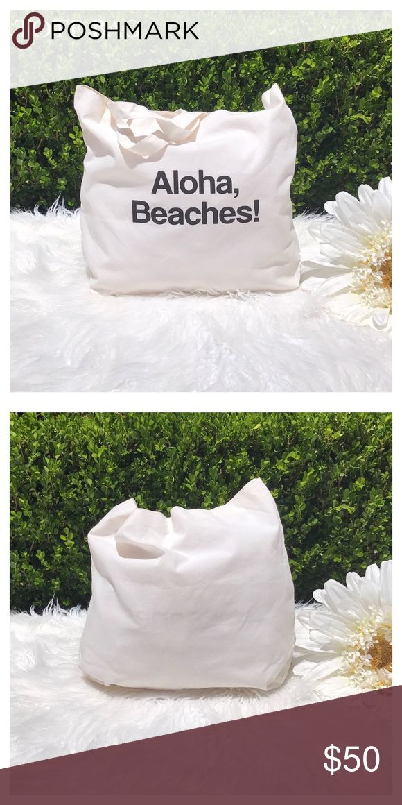 "NWOT ALOHA BEACHES CREAM TOTE BAG ""ALOHA BEACHES"" CREAM TOTE BAG! Perfect tote for Summer! Material: 50% Cotton, 50% Polyester. Color: Canvas, Cream/Black Text Wording. Approx Size: Height: 14"", Width: 17"", Depth: 3.5"", Handle Drop: 11.5"". Condition: NWOT Bags Totes"