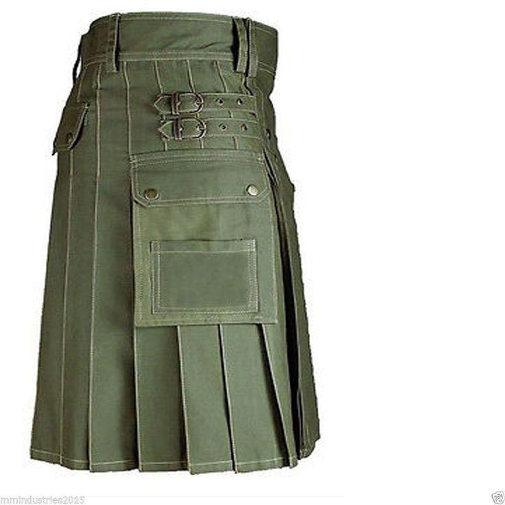 Olive Green Great Gift New Active Men Olive Green utility kilt For Men #Handmade #Kilt