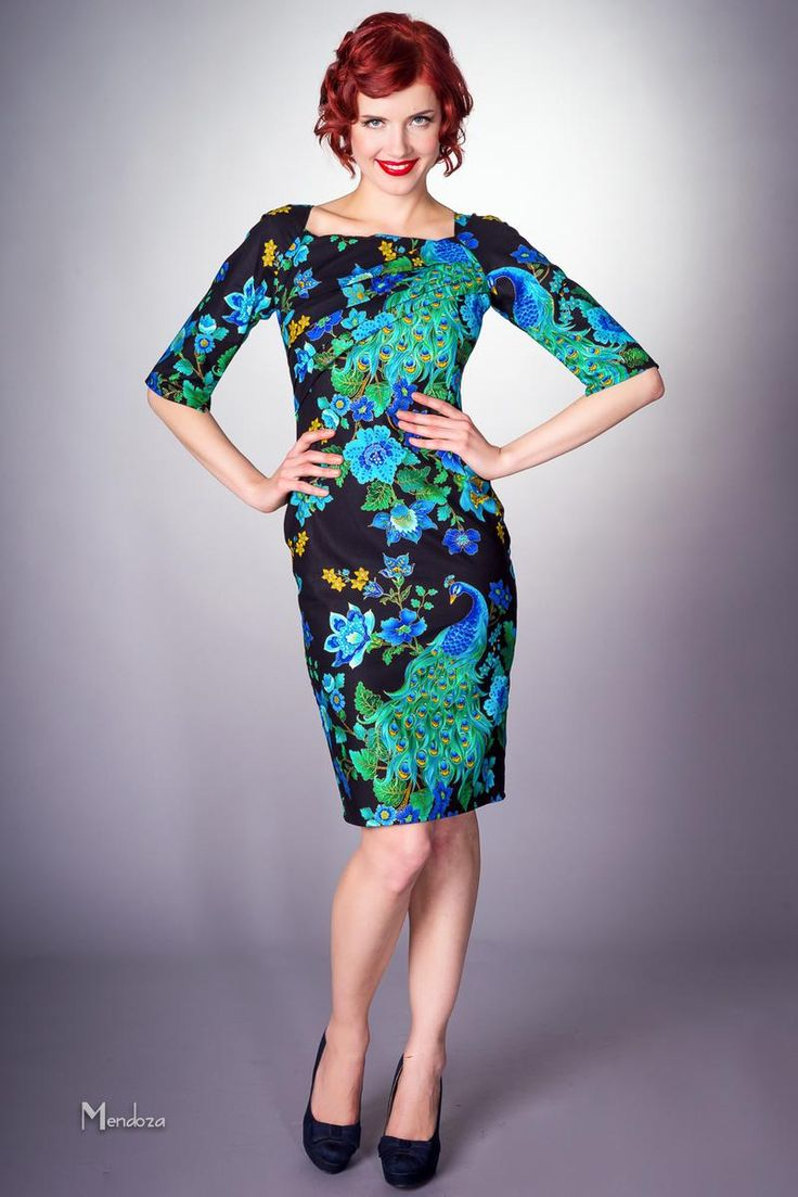 Classic vintage dress in peacock print. #peacock #frock