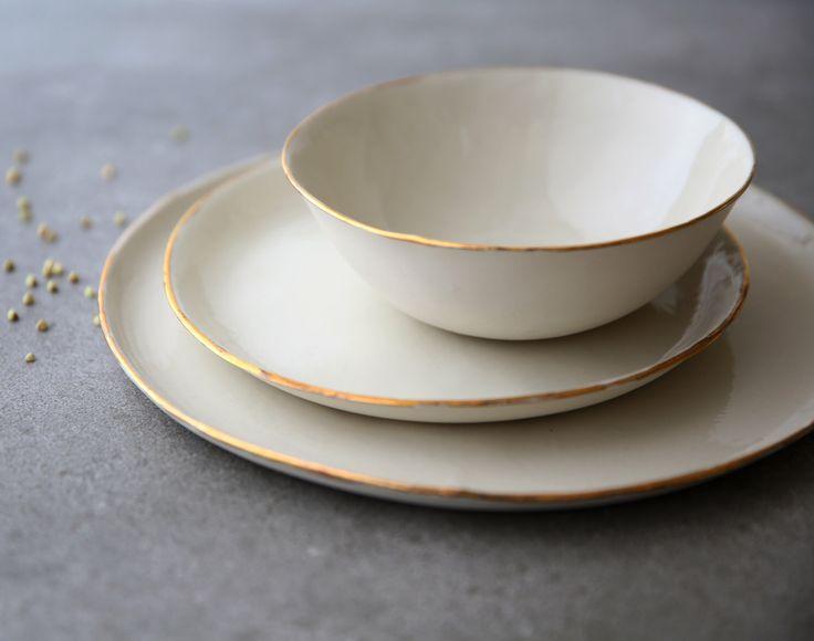 Ceramic dinnerware set White porcelain dinnerware Modern pottery dish set Ceramic bowl Dinner plate Dessert plate Dinner set Wedding gift by SinDstudio on Etsy https://www.etsy.com/uk/listing/514891091/ceramic-dinnerware-set-white-porcelain