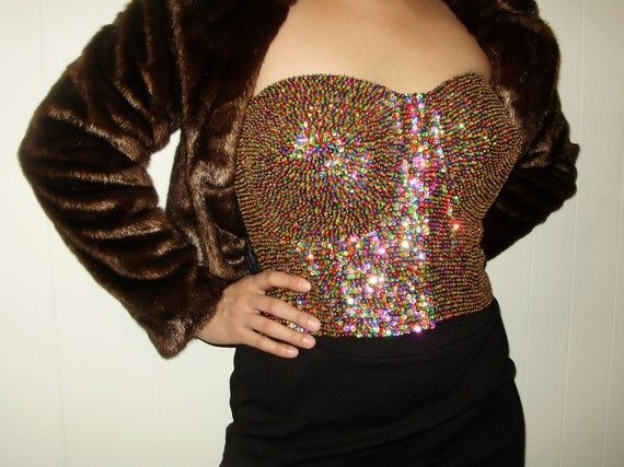 rainbow sequin bustier corset top strapless plus size 40 ...