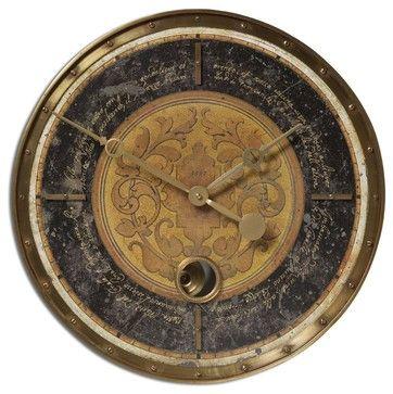 Old World Black Gallery Pendulum Wall Clock 18' transitional-wall-clocks