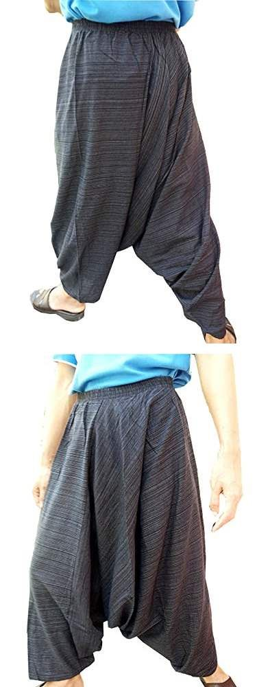 Mens Hmong Hill Pants Harem Yoga Pants Stripes Dark Grey Jump Suit Waist No Rope