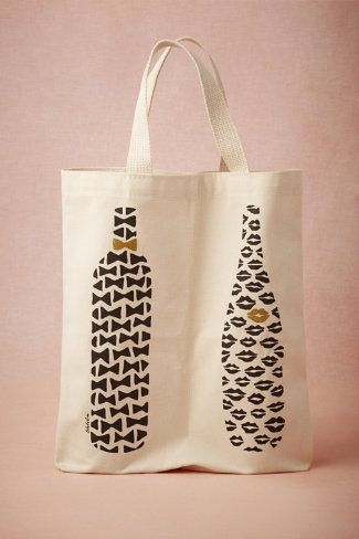 His & Hers Wine Tote. Fabric paint, stamps, and a seam run up the middle of a canvas tote bag. Oh yeaaaaah.