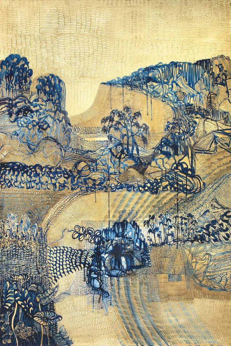 "lawrenceleemagnuson: "" Joshua Yeldham (b. 1970 Australia) recent work Mangrove Bay - Hawkesbury River oil, cane and clay on carved board,152 x 102 cm http://joshuayeldham.com.au/ """