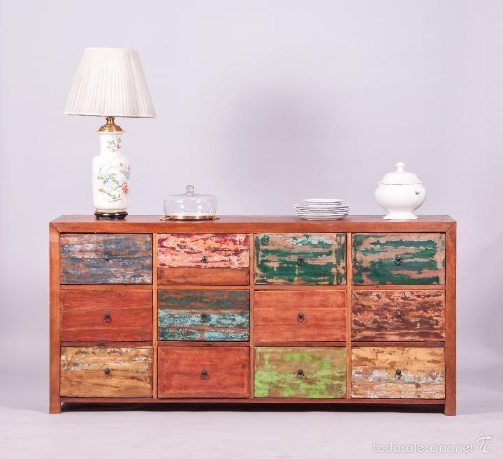 Aparador de madera reciclada oldboat foto 1 coleccion for Reciclado de muebles de madera antiguos