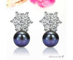 1 Paar Ohr Stecker  Zucht Perle schwarz mit Zirkonia  im...