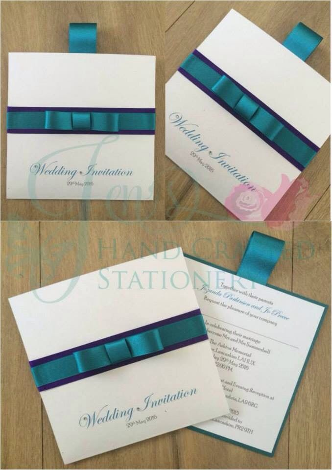 how to put guest names on wedding invitations%0A Teal and purple wallet wedding invitation  www jenshandcraftedstationery co uk www facebook