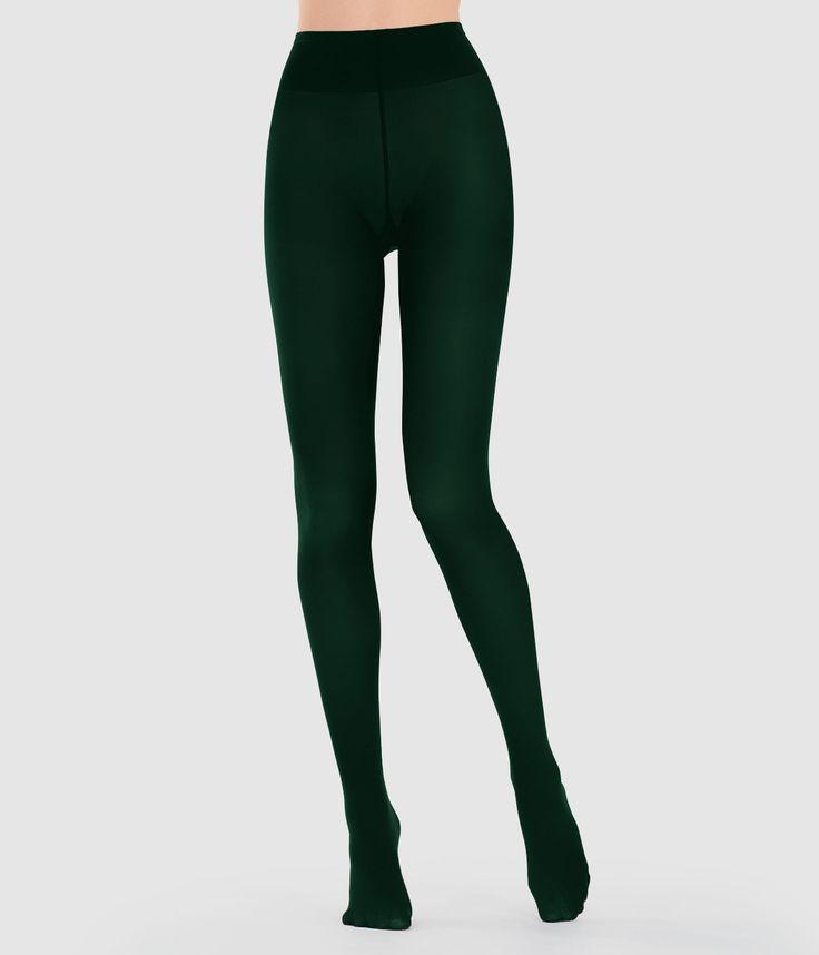 J2017  Cortefiel 100 denier opaque tights Dark green