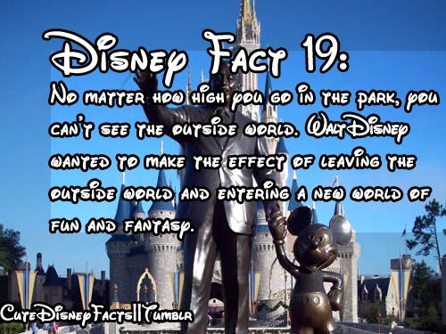 Cute Disney Facts -I know this to be true! The week I spent there was like the outside world didn't exist.