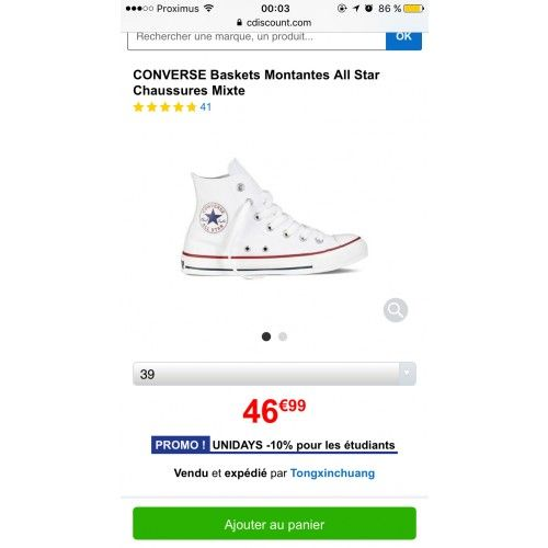 CONVERSE blanche taille 39