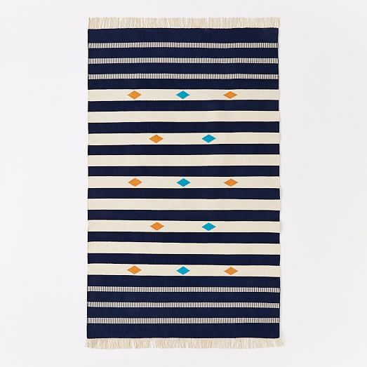 Steven Alan Geometric Stripe Cotton Kilim Rug | West Elm    *** Great rug, appears to be more of a bright cobalt blue than this photo, very fresh but maybe not quite right?