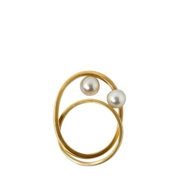 LIA DI GREGORIO - DOUBLE FRESHWATER PEARL CROSSE RING featuring polyvore women's fashion jewelry rings accessories fillers crucifix jewelry cultured pearl ring cross jewelry cross jewellery fresh water pearl jewelry