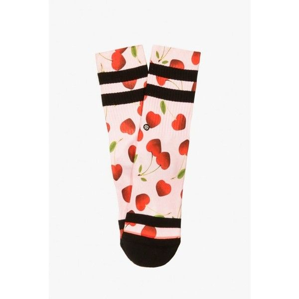Stance Socks Cherry Bomb Sock ($14) ❤ liked on Polyvore featuring intimates, hosiery, socks, multi, arch support socks, seamless socks, stance socks, heart socks and pink socks