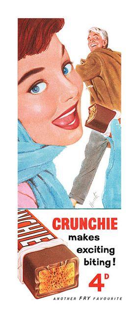 1957 Crunchie Chocolate  Bar Advert