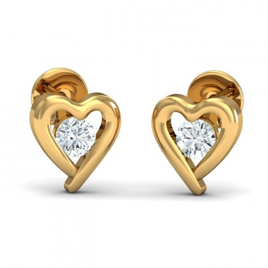 Single diamond of 0.10 carat surrounded by metal shaped in the form of a heart. This pair of classic stud earrings is your everyday companion. Go ahead & customize it with options in Gold Purity (18K, 14K), Diamond Grade (SI-HI, VS-GH, VVS-GH) & Metal Colour (Yellow, White, Rose) of your liking. Create your own unique jewelry. #Solo #Diamond #Heart #Gold #Earrings