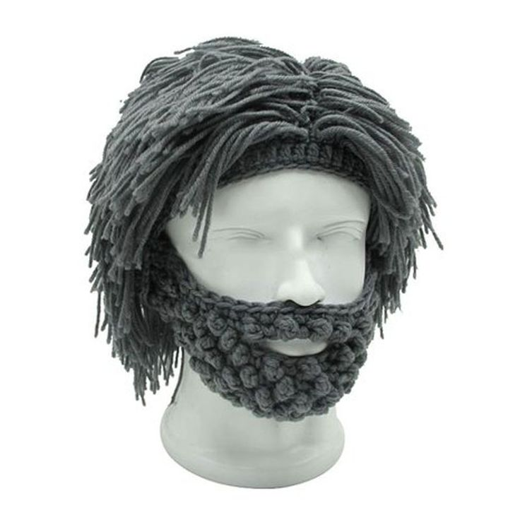 Mens Hobo Wig Beard Crochet funny costume hat Caveman Design handmade cap - http://fashionfromchina.net/?product=mens-hobo-wig-beard-crochet-funny-costume-hat-caveman-design-handmade-cap
