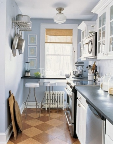Thin shelf with stools, wall pot rack over shelf - I love the glass cabinets and gray