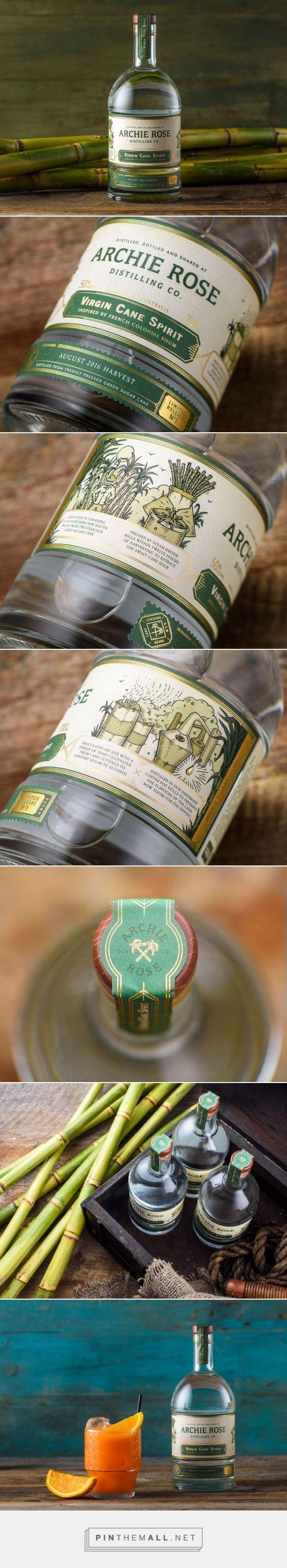 Archie rose virgin cane spirit packaging design by squad ink design studio http