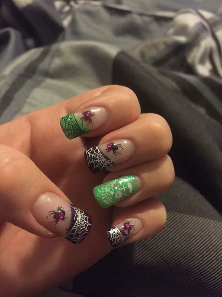 Halloween Nails Spiders and Day of the Dead