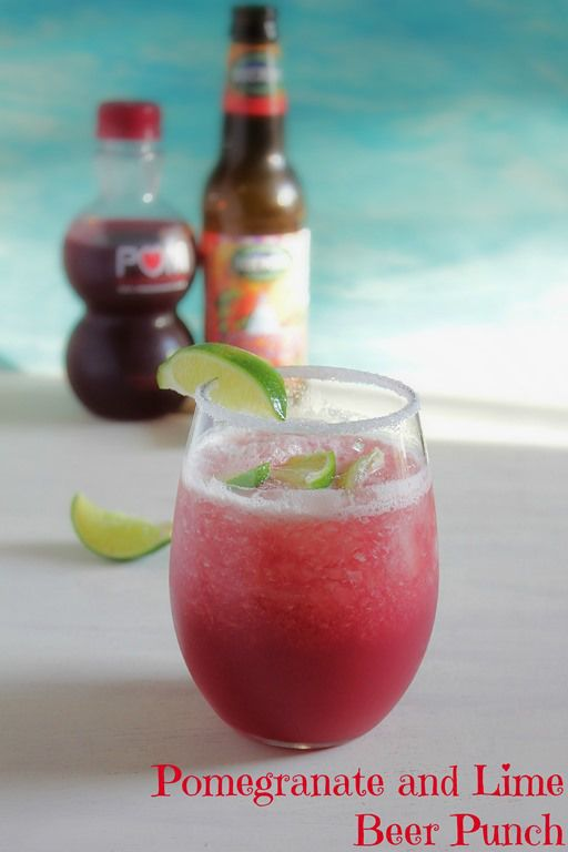 Pomegranate and Lime Beer Punch