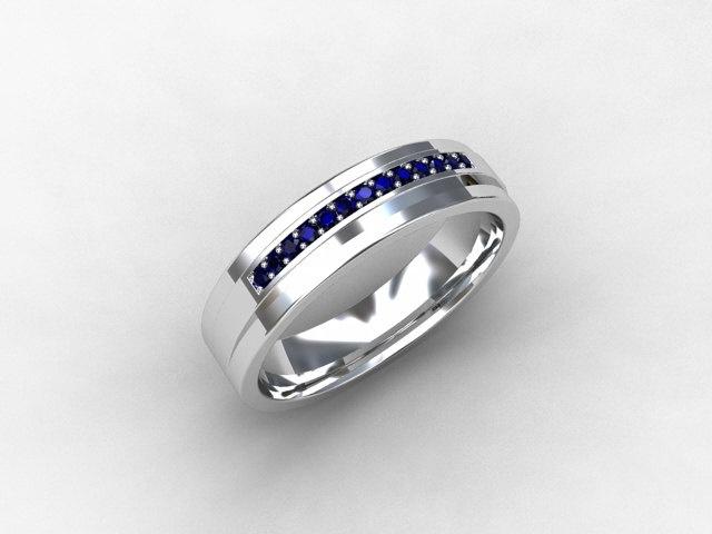blue sapphire ring white gold mens wedding band commitment ring men sapphire - Mens Sapphire Wedding Rings