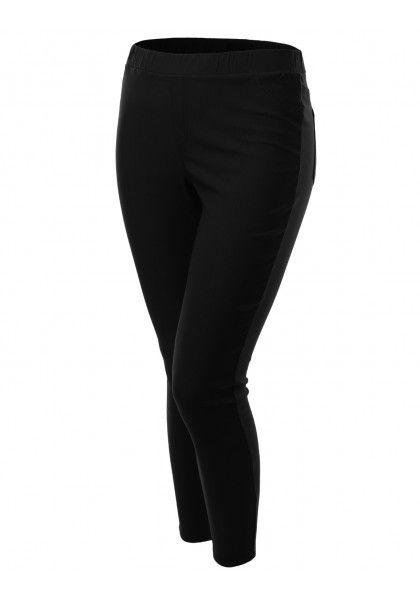 Spandex Pants Leggings With Butt Pocket Elastic Waist #jtomsonplussize
