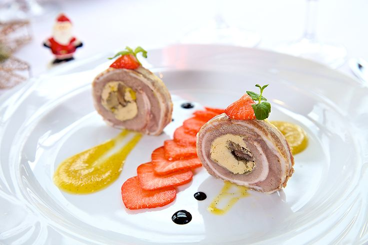 Duck Ballotine with Foie Gras, chestnuts and Quince sauce  at LE REGAL in Warsaw