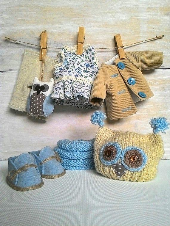 Dress up fabric doll owl soft toy owl cloth art by JuliettaDoll