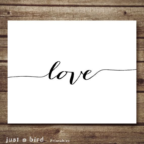 Love Printable art wall decor poster, typography digital printables custom personalized nursery children's room - INSTANT DOWNLOAD