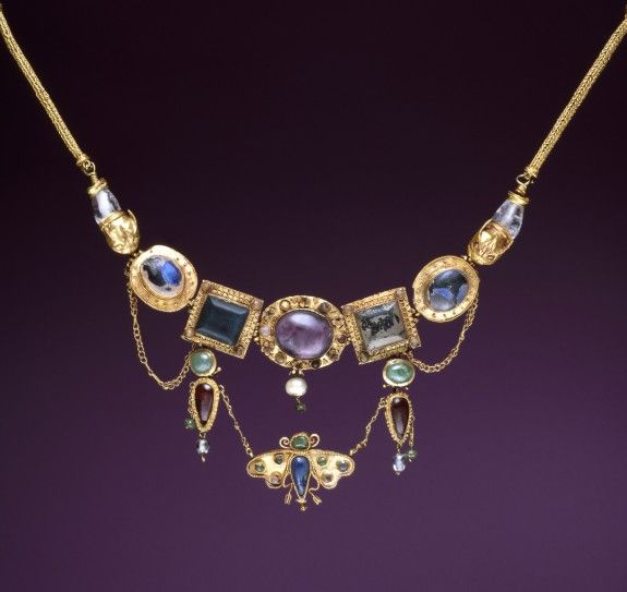 "ancientjewels: ""Ancient Greek necklace with inlaid stones and a butterfly pendant. Dates to the late 2nd - 1st century BCE and featuring inlays of amethyst, chalcedony, emerald, crystal, pearl, and glass. From the collection of the Walters Art..."