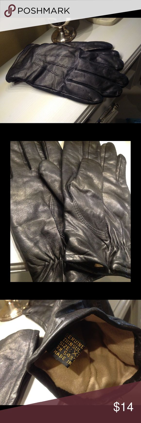 Womens leather gloves thinsulate lining - Thinsulate Black Leather Gloves Womens Size Xl