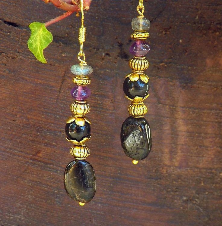 Boucles d'oreilles palets de tourmaline noire, obsidienne, améthyste, labradorite, plaquées or: ᘛ La récolte d'Ishtar ᘚ : Boucles d'oreille par obijouxlegendaires