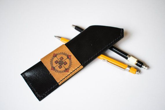 Leather pencil case // handmade pencil pouch // genuine by Tradde
