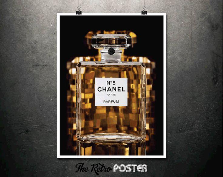 Chanel No.5 Paris - Parfum - Fashion, Fashion Print, Fashion Poster, Chanel Print, Advertising, Gift for Women, Perfume Print by TheRetroPoster on Etsy